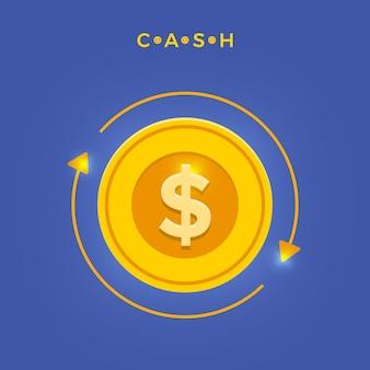 Illustrazioni vettoriali concetto cash back o pagamento in denaro