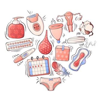 Illustrazioni vettoriali sul tema dell'igiene femminile.