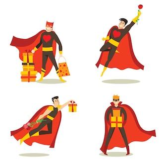 Illustrazioni vettoriali in design piatto di set di supereroi di compleanno di uomini in costumi divertenti di fumetti