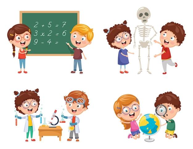 Illustrazioni vettoriali di bambini che hanno lezioni di scienze