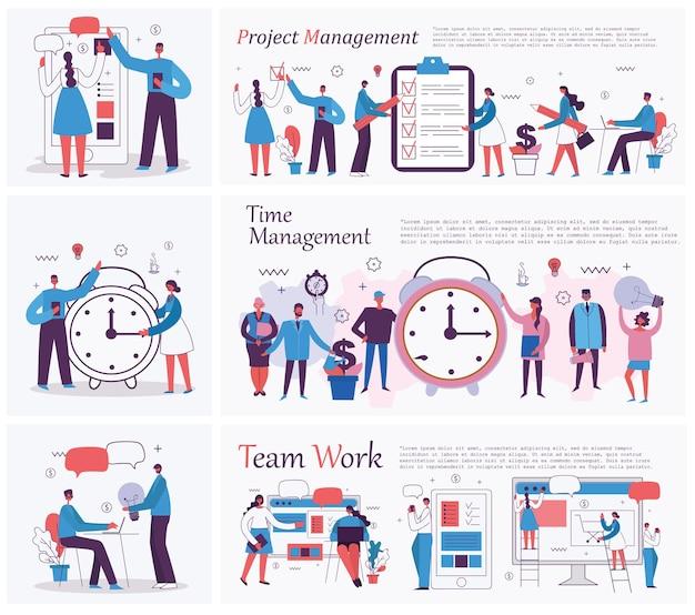 Le illustrazioni vettoriali del concetto di ufficio uomini d'affari e-commerce progetto di formazione online gesti...