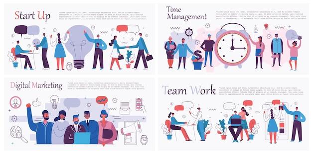 Illustrazioni vettoriali del concetto di ufficio uomini d'affari nel tempo e nel progetto di e-commerce in stile piatto...