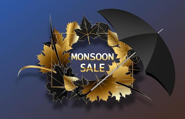 Banner di vendita di illustrazioni vettoriali poster o volantino per la stagione dei monsoni con gocce di pioggia