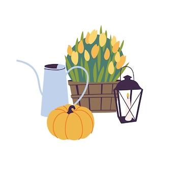 Set di illustrazioni vettoriali di accessori autunnali: fiori autunnali, annaffiatoio da giardino e zucca con lanterna a candela. attributi tradizionali della stagione autunnale.