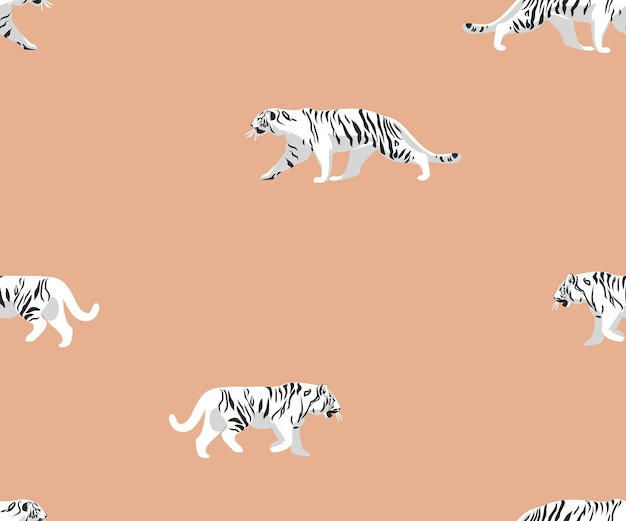 Illustrazioni vettorialisafari bohémien contemporaneo stampa senza cuciture con tigri selvatiche esotiche