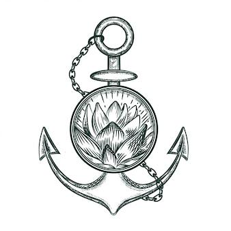 Immagine vettoriale di un ancoraggio e loto.
