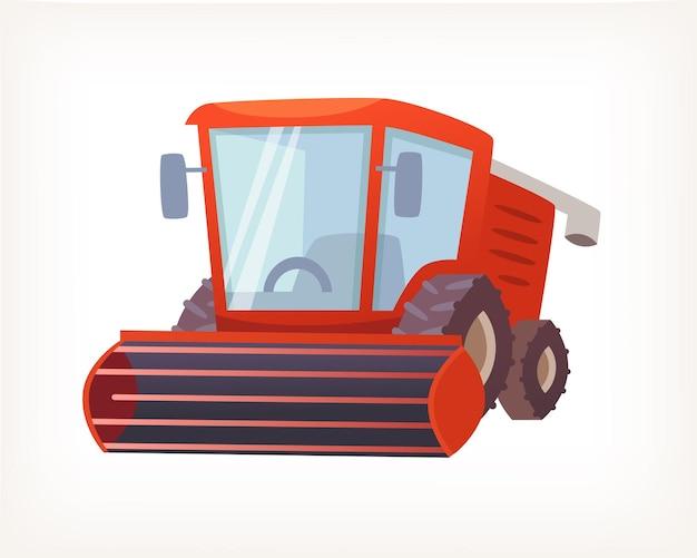 Immagine vettoriale del classico trattore per mietitrebbiatrice rossa per la raccolta dei raccolti