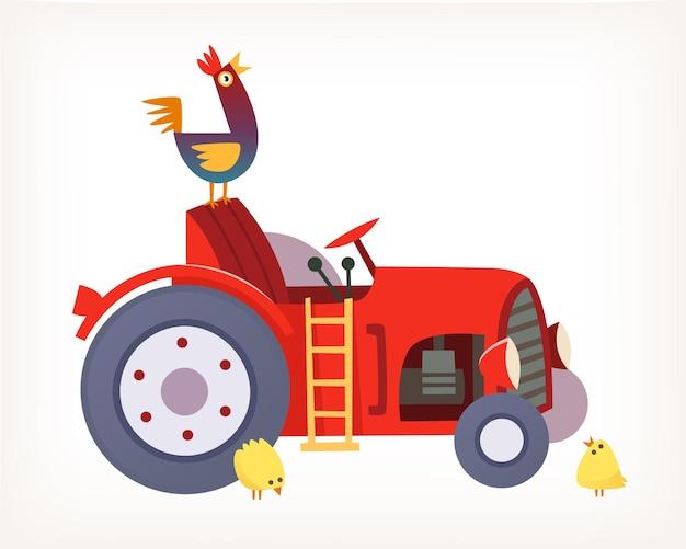 Immagine vettoriale del classico trattore rosso per l'agricoltura con gallo e pulcini su di esso