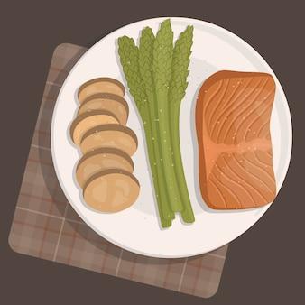 Immagine vettoriale di un sano pranzo o cena su un piatto sul tavolo e tovaglia.