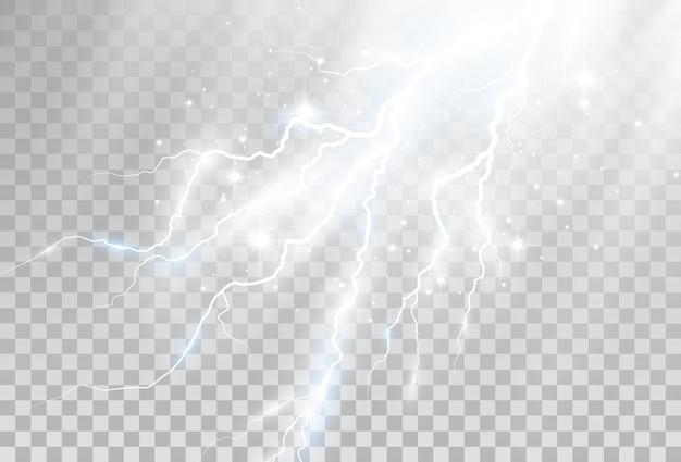 Immagine vettoriale di un lampo realistico lampo di tuono su uno sfondo trasparente