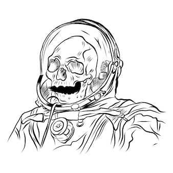 Immagine vettoriale di un teschio nel casco di un astronauta