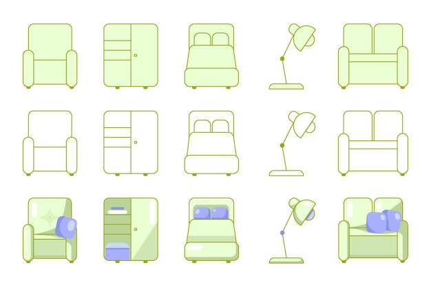 Immagini vettoriali di icone di mobili per la casa disegnate a mano