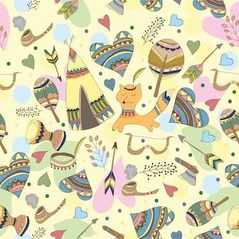 Illustrazione di doodle indiano di vettore - modello divertente di stile di doodle