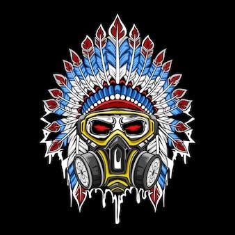 Vettore del cranio indiano che indossa una maschera
