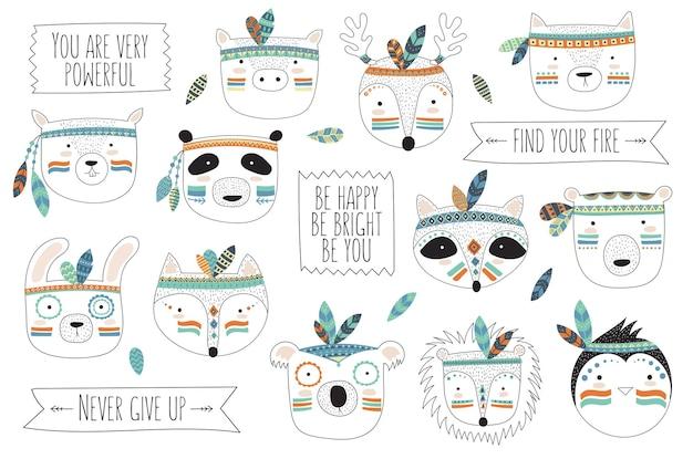 Volti di animali tribali indiani vettoriali con slogan motivazionale doodle illustrazione