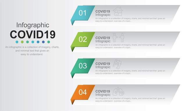 Modello di progettazione di etichette grafiche di informazioni vettoriali con icone e 4 opzioni o passaggi