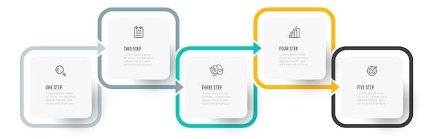 Design colorato infografica vettoriale con freccia e 5 opzioni o passaggi.