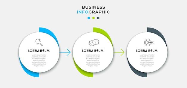 Modello di business di progettazione infografica vettoriale con icone e 3 opzioni o passaggi. può essere utilizzato per diagramma di processo, presentazioni, layout del flusso di lavoro, banner, diagramma di flusso, grafico informativo