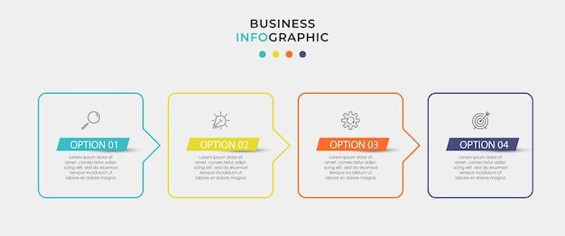 Modello di business di progettazione infografica vettoriale con icone e 4 opzioni o passaggi