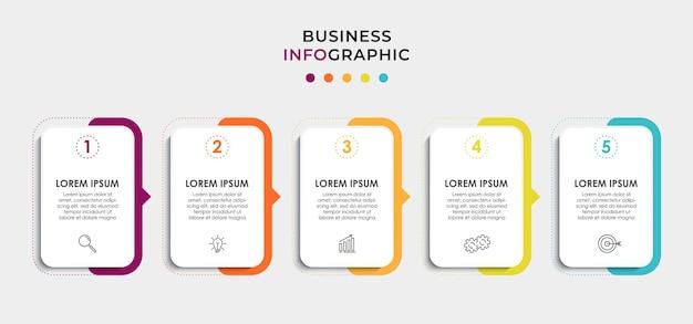 Modello di business di progettazione infografica vettoriale con icone e 5 opzioni o passaggi. può essere utilizzato per diagramma di processo, presentazioni, layout del flusso di lavoro, banner, diagramma di flusso, grafico informativo info
