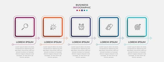 Modello di business di progettazione infografica vettoriale con icone e 5 opzioni o passaggi