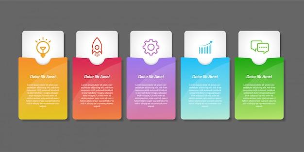 Elementi di design infografico vettoriale. design infografico del flusso di lavoro del numero di opzione