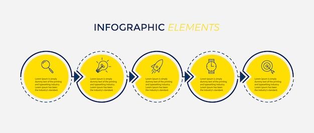 Modello di progettazione infografica vettoriale con 5 opzioni o passaggi