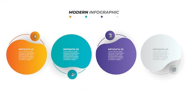 Progettazione di etichette infografica vettoriale con cerchi e icone di marketing. fase del processo aziendale con quattro opzioni.