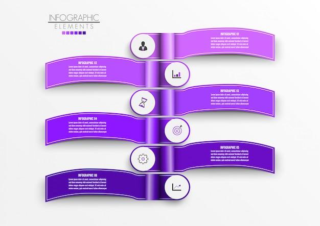 Modello di infographic di vettore con etichetta di carta 3d, cerchi integrati. concetto di business con 6 opzioni.