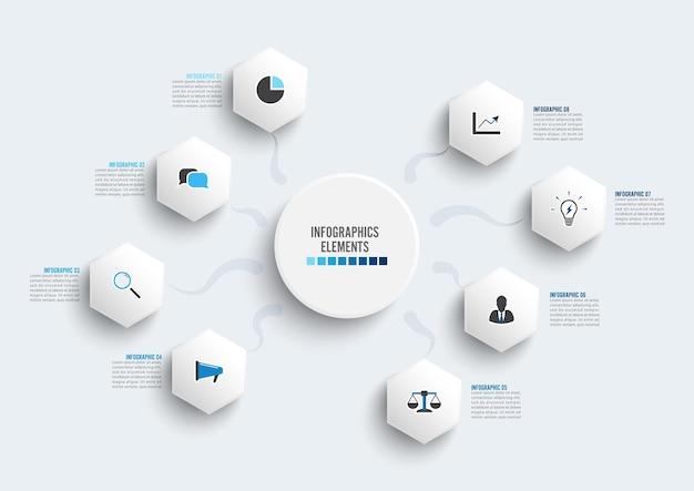 Modello di infografica vettoriale con etichetta di carta 3d, cerchi integrati. concetto di affari con 8 opzioni. per contenuto, diagramma, diagramma di flusso, passaggi, parti, infografica timeline, flusso di lavoro, grafico.