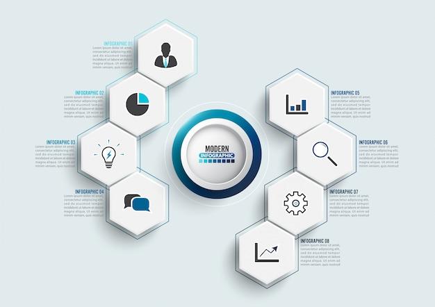 Modello di infographic di vettore con etichetta di carta 3d, cerchi integrati. concetto di business con 8 opzioni