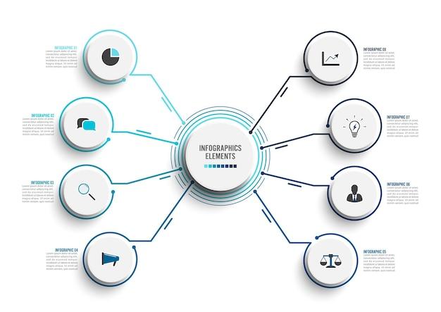 Modello di infografica vettoriale con cerchi integrati etichetta di carta 3d concetto di business con 8 opzioni