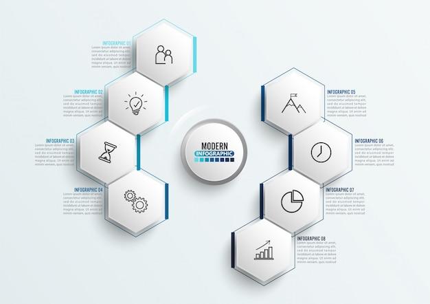 Modello di infografica vettoriale con etichetta di carta 3d, cerchi integrati.