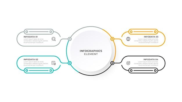 Progettazione di etichette infografiche vettoriali con icone e processi di linea sottile business concept 4 opzioni
