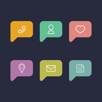 Informazioni vettoriali e icone di notifica in stile piatto.