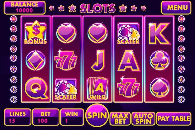 Slot machine con interfaccia vettoriale di colore viola.