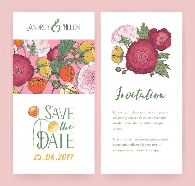Biglietti d'invito vettoriali con fiori di ranuncolo e lettere calligrafiche. progettazione di volantini di nozze.