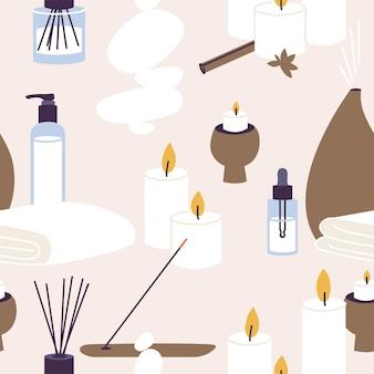 Modello vettoriale senza cuciture con prodotti biologici e naturali per procedure termali e benessere. bastoncini aromatici e candele con olio essenziale, lozione a base di erbe.