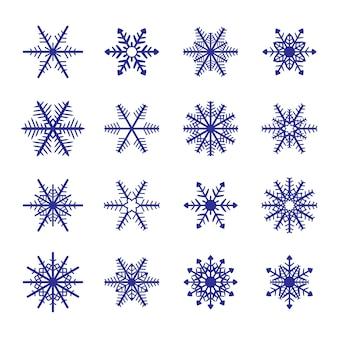Insieme blu del fiocco di neve di vettore isolato. elemento decorativo di natale.