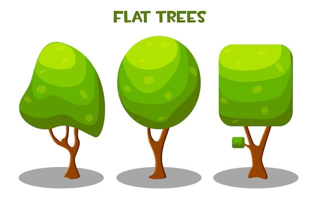 Alberi verdi di vettore isolato in stile piano. illustrazione delle collezioni di alberi nel parco.