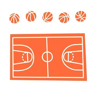 Illustrazione vettoriale isolato di palla da basket e icona di corte. attrezzature per campo da basket.