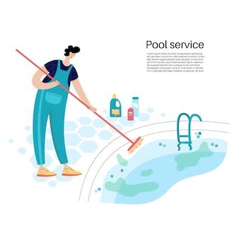 Illustrazione vettoriale isolata dell'uomo che spazzola le pareti di una piscina. manutenzione della piscina