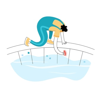 Illustrazione vettoriale isolata dell'uomo che spazzola le pareti di una piscina. operaio in uniforme di carattere