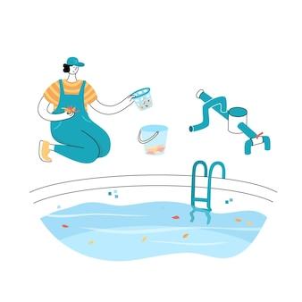 Illustrazione vettoriale isolata dell'uomo che pulisce le foglie cadute da un cestello per la scrematura della piscina.