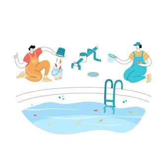 Illustrazione vettoriale isolata dell'uomo che pulisce le foglie cadute. manutenzione della piscina