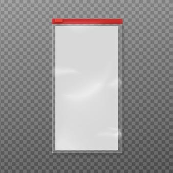 Illustrazione vettoriale isolato di sacchetto di plastica realistico con cerniera rossa