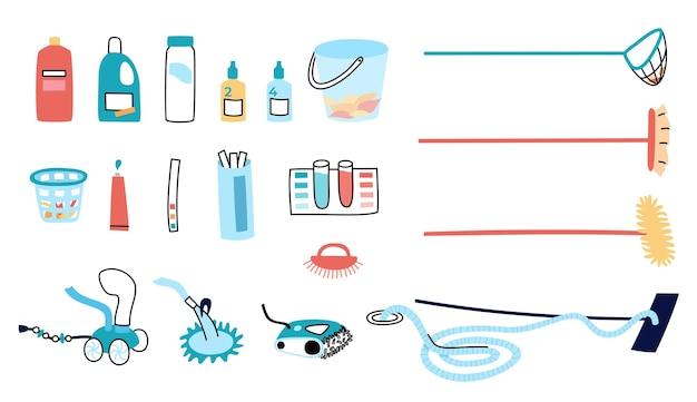 Illustrazione vettoriale isolata degli strumenti e delle attrezzature per la cura della cacca di nuoto.