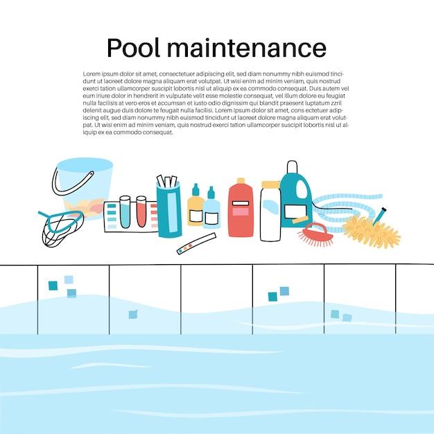 Illustrazione vettoriale isolata degli strumenti e delle attrezzature per la cura della piscina.
