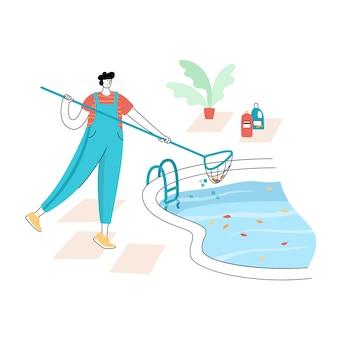 Illustrazione vettoriale isolata del lavoratore in uniforme che pulisce le foglie da una piscina con skimmer