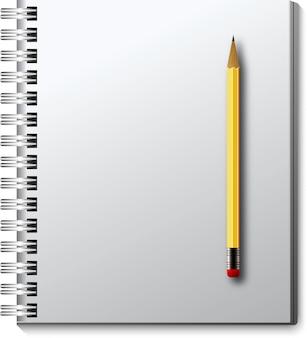 Taccuino isolato vettore con la matita.